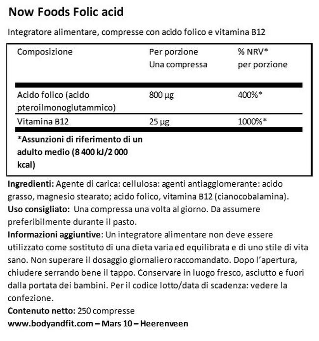 Acido Folico Nutritional Information 1