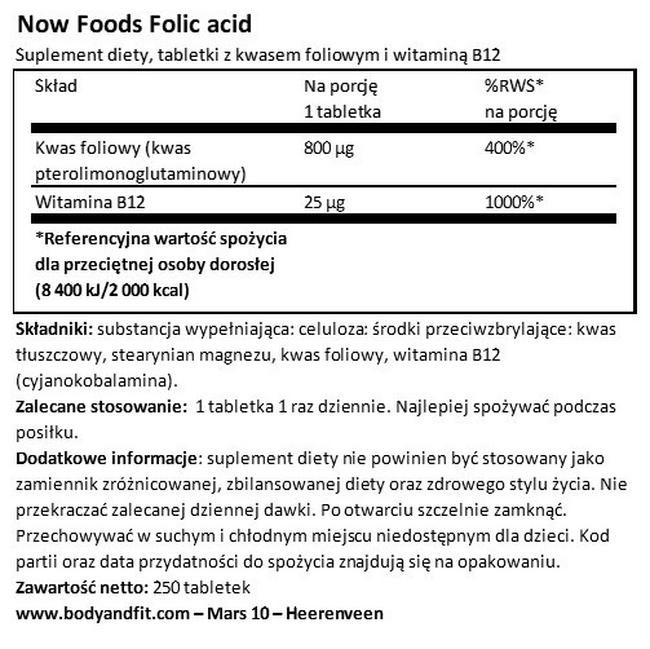 Kwas foliowy Nutritional Information 1