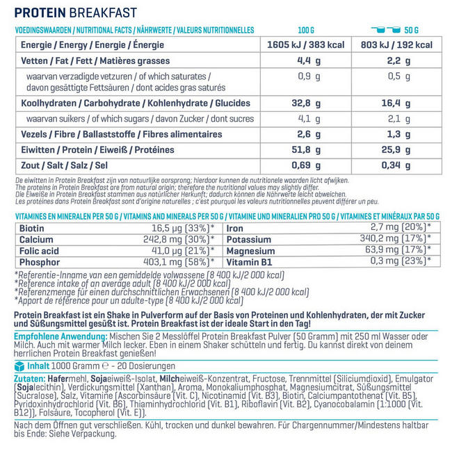 Protein Breakfast Nutritional Information 1