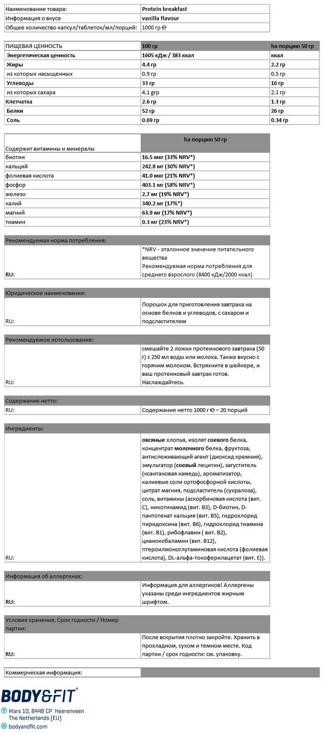 Protein Breakfast Nutritional Information 1
