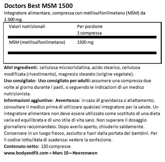 MSM 1500 Nutritional Information 1