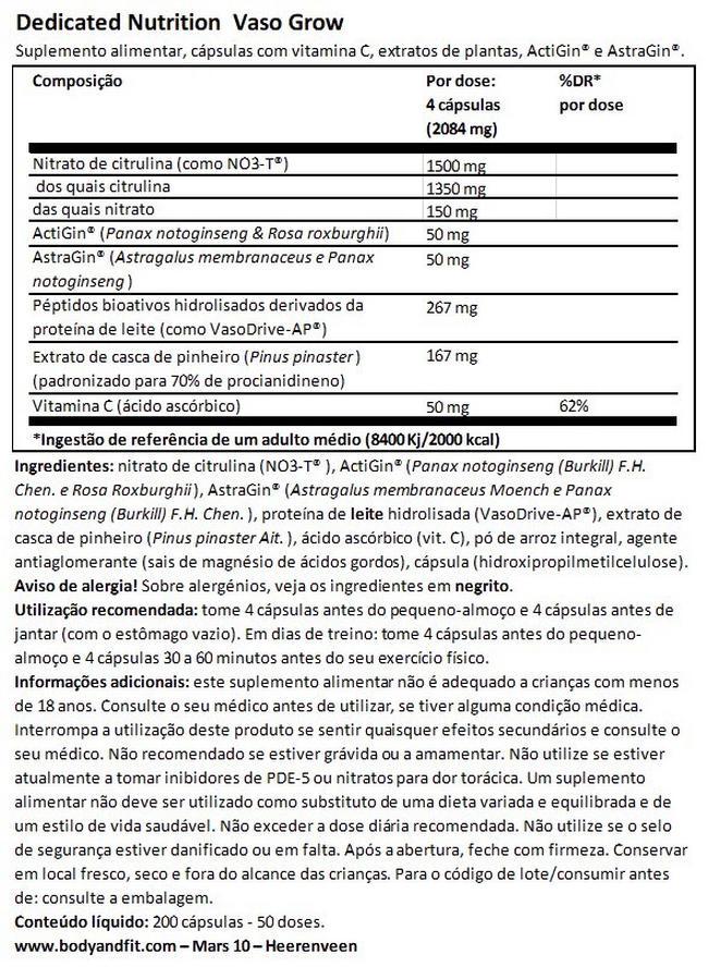 Vaso Grow Nutritional Information 1