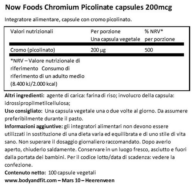 Chromium Picolinate 200 µg Nutritional Information 1