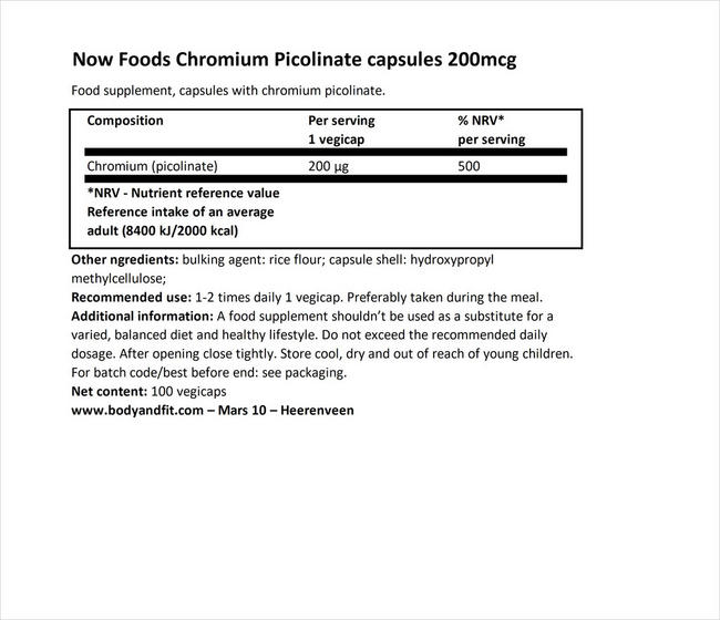 Chromium Picolinate 200µg Nutritional Information 1