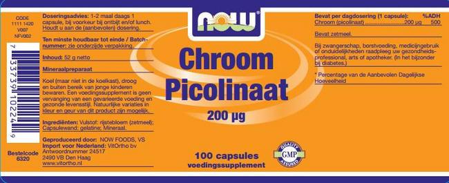 Chromium Picolinaat capsules 200mcg Nutritional Information 1