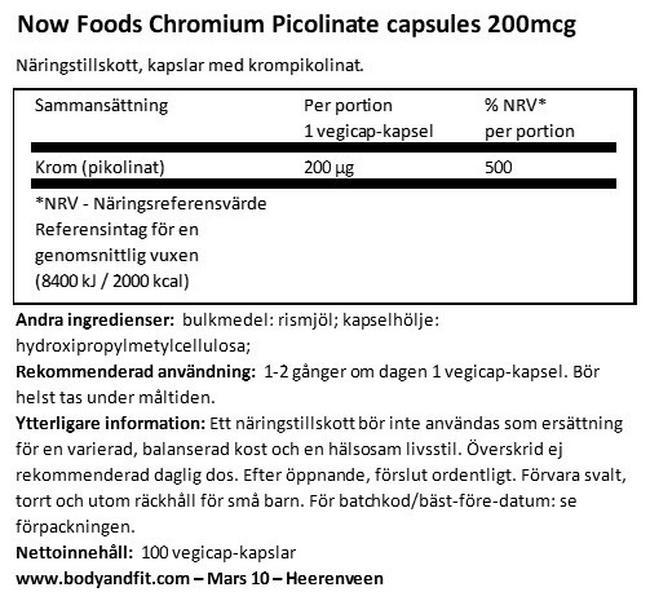Chromium Picolinate Capsules 200mcg Nutritional Information 1