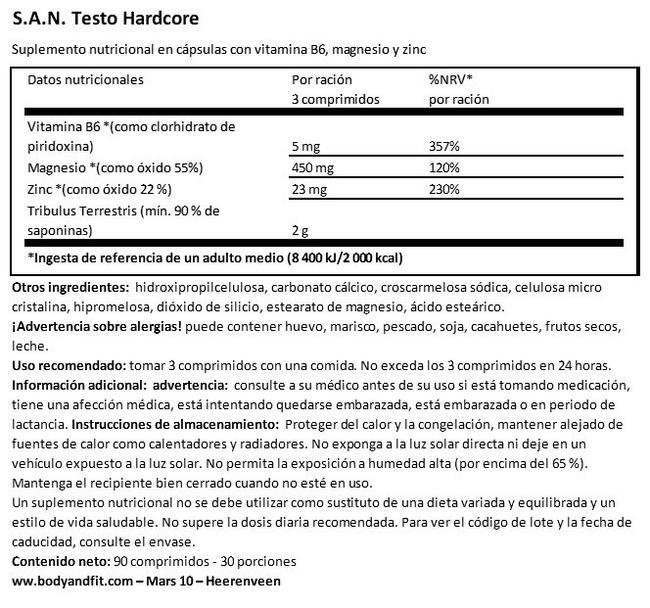 Testo Hardcore Nutritional Information 1