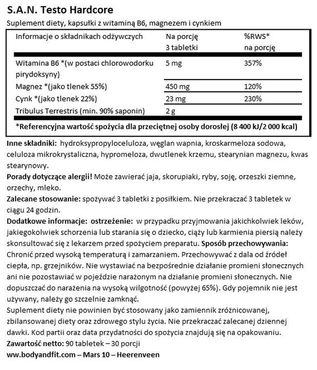 Testo Hardcore Nutritional Information 1