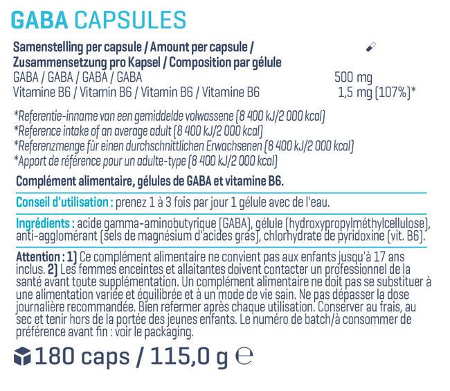 Gélules de GABA Nutritional Information 1