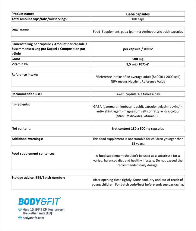 GABAカプセル Nutritional Information 1