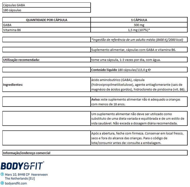 GABA Capsules Nutritional Information 1