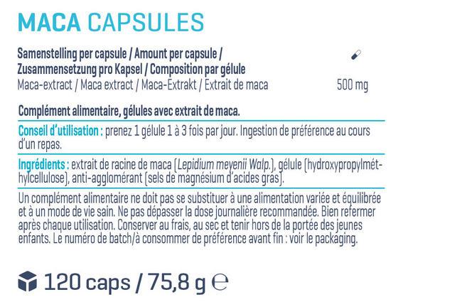 Maca Capsules Nutritional Information 1