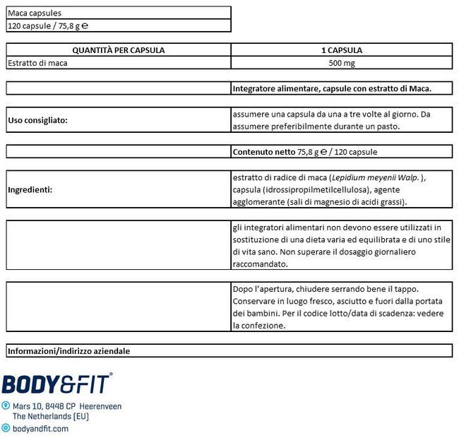 Capsule di Maca Nutritional Information 1