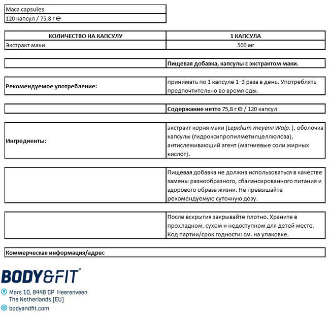 Капсулы мака Nutritional Information 1