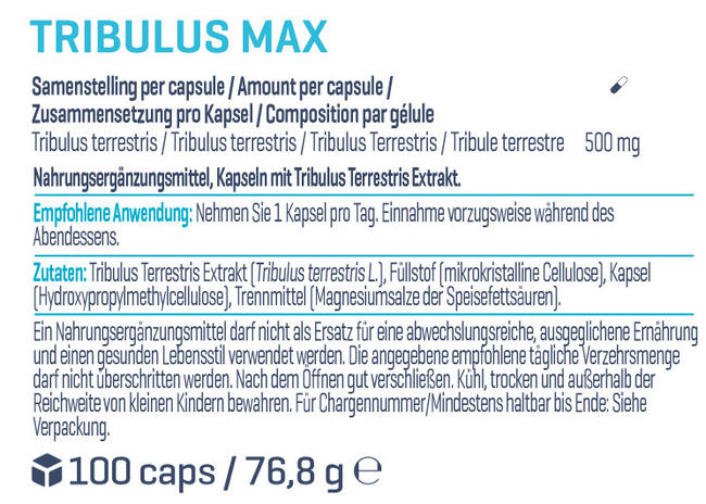 Tribulus Max Nutritional Information 1