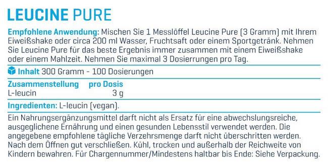 Leucin Pulver Nutritional Information 1