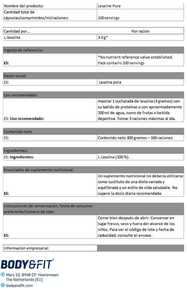 Leucine Pure Nutritional Information 1