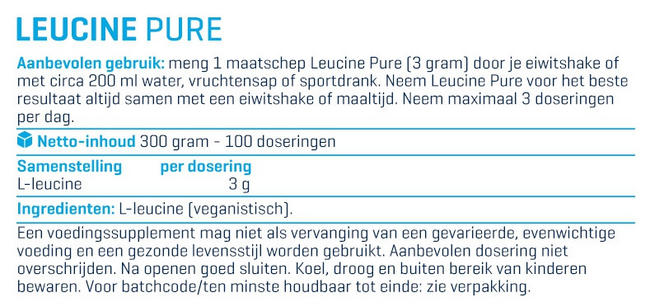 Leucine Pure Nutritional Information 1