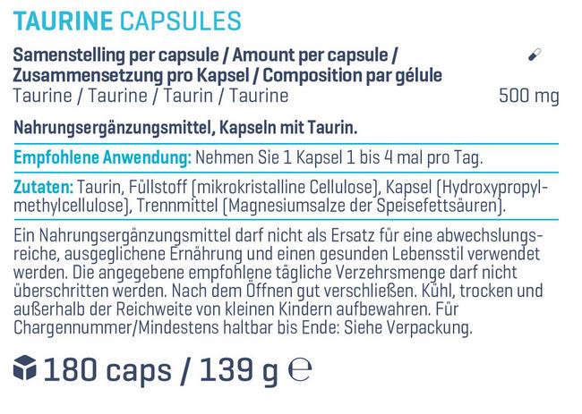Taurin-Kapseln Nutritional Information 1