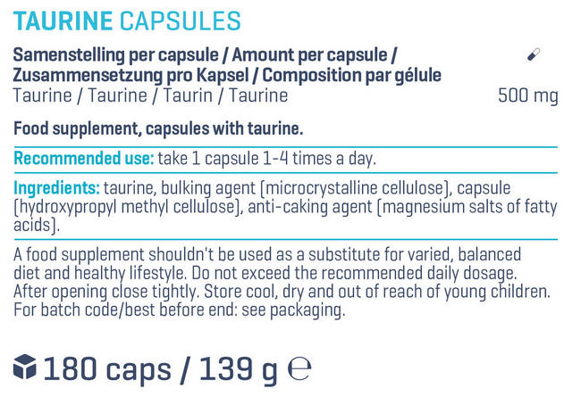 Taurine Capsules Nutritional Information 1