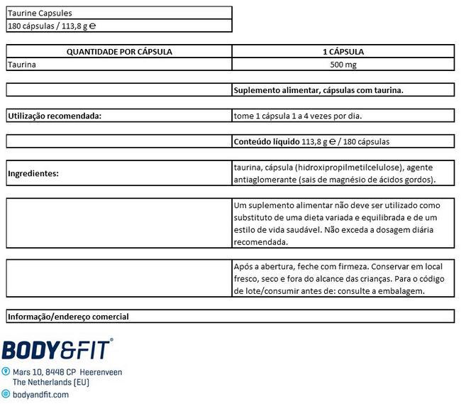 Taurine Cápsulas Nutritional Information 1