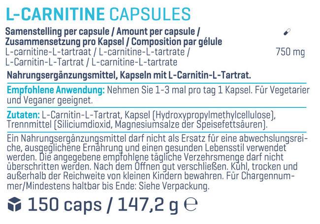 L-Carnitin Kapseln Nutritional Information 1