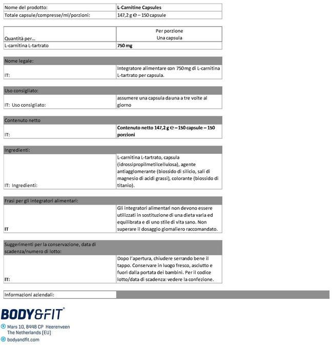 Capsule di L-Carnitina Nutritional Information 1