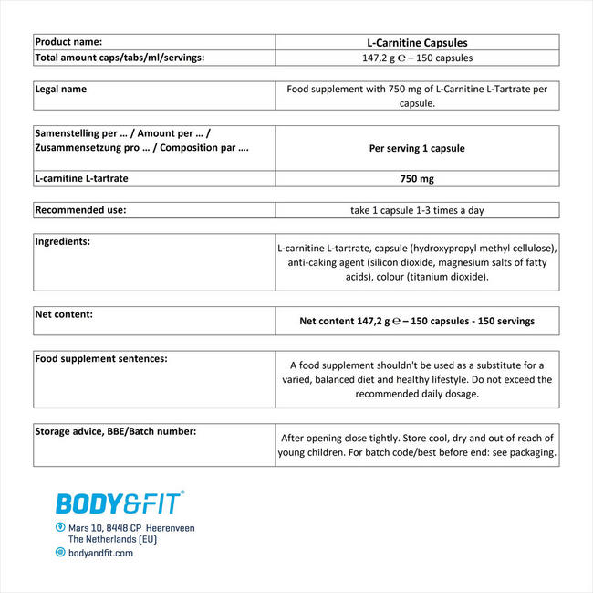 L-カルニチンカプセル Nutritional Information 1