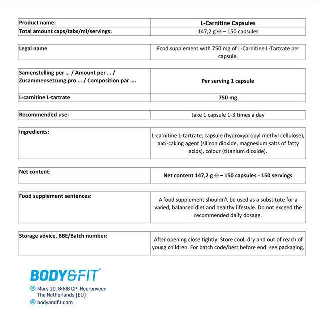 L-카르니틴 캡슐 Nutritional Information 1