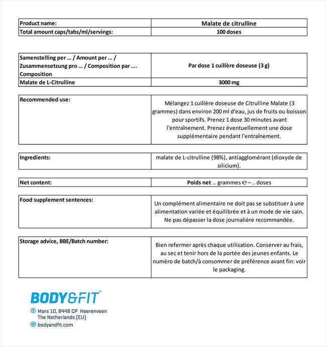 Malate de citrulline Nutritional Information 1