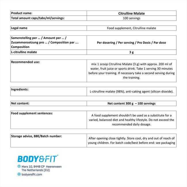시트룰린 말레이트 Nutritional Information 1
