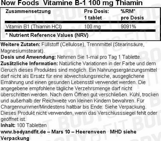 Vitamin B-1 Nutritional Information 1
