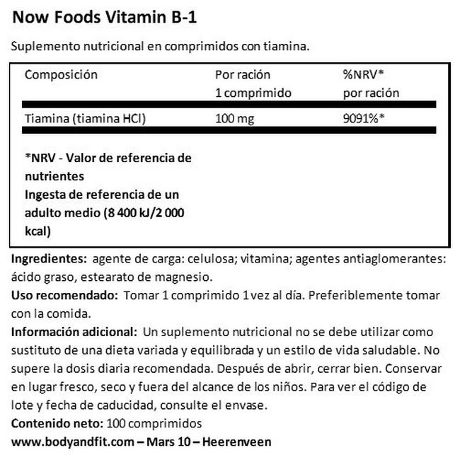Vitamin B1 Nutritional Information 1