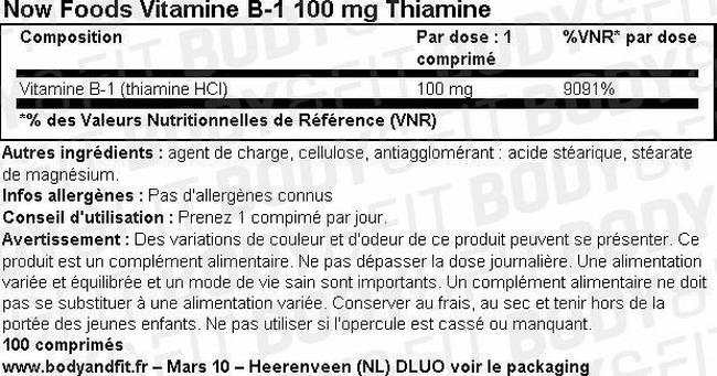 Vitamine B-1 Nutritional Information 1