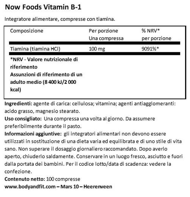 Vitamin B1 Nutritional Information 1