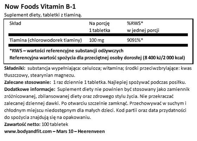 Witamina B1 Nutritional Information 1