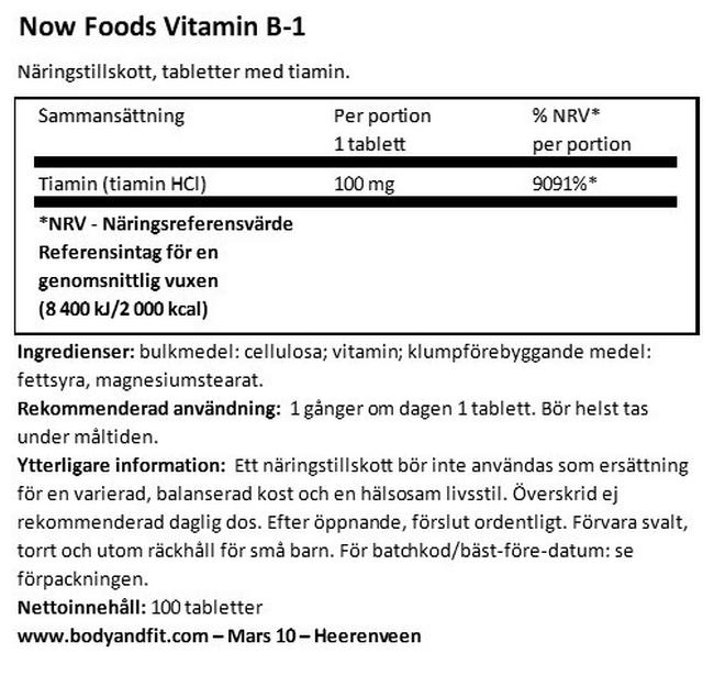 Vitamine B1 Nutritional Information 1