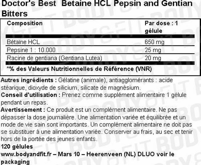 Betaine HCl Pepsin and Gentian Bitters Nutritional Information 2