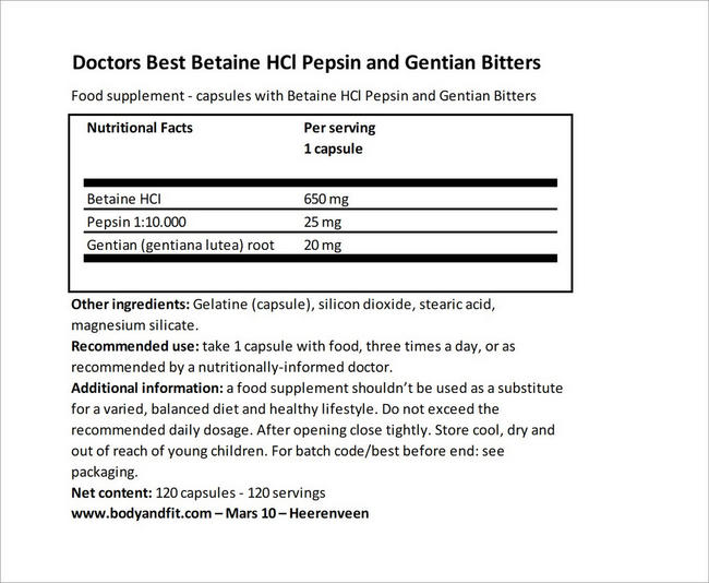 Betaine HCl Pepsin and Gentian Bitters Nutritional Information 5