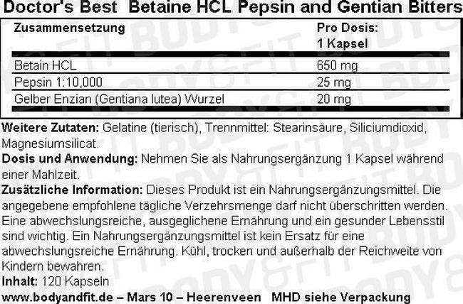 Betaine HCl Pepsin and Gentian Bitters Nutritional Information 1