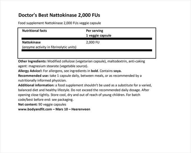 낫토키나아제, 2,000FU Nutritional Information 1