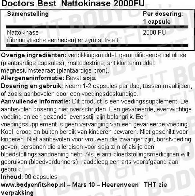 Nattokinase, 2.000FU Nutritional Information 1