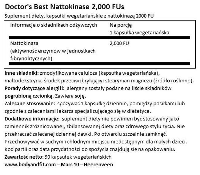 Nattokinase, 2.000 FU Nutritional Information 1