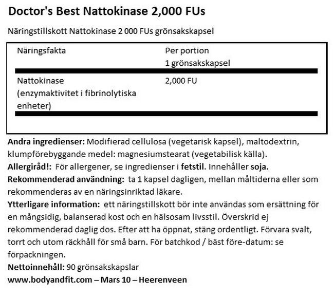 Nattokinase 2000FU Nutritional Information 1