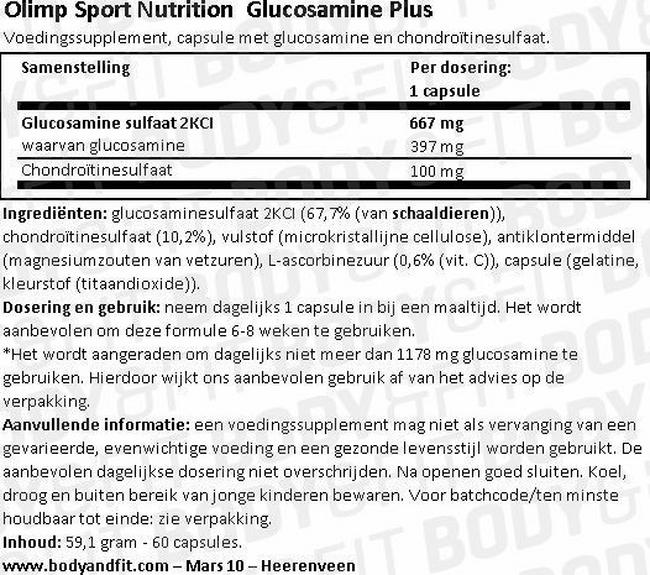 Glucosamine Plus Nutritional Information 1