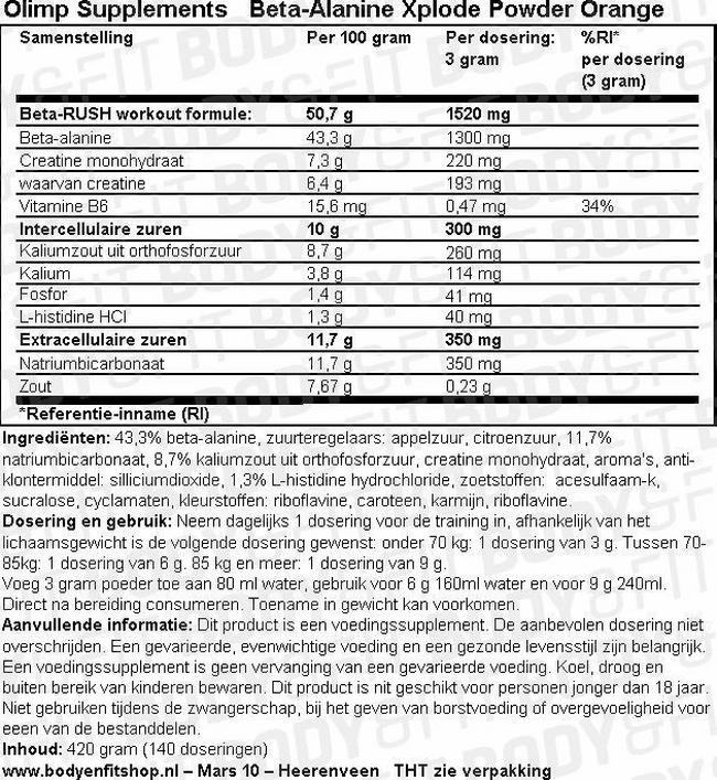 Beta-Alanine Xplode Nutritional Information 1