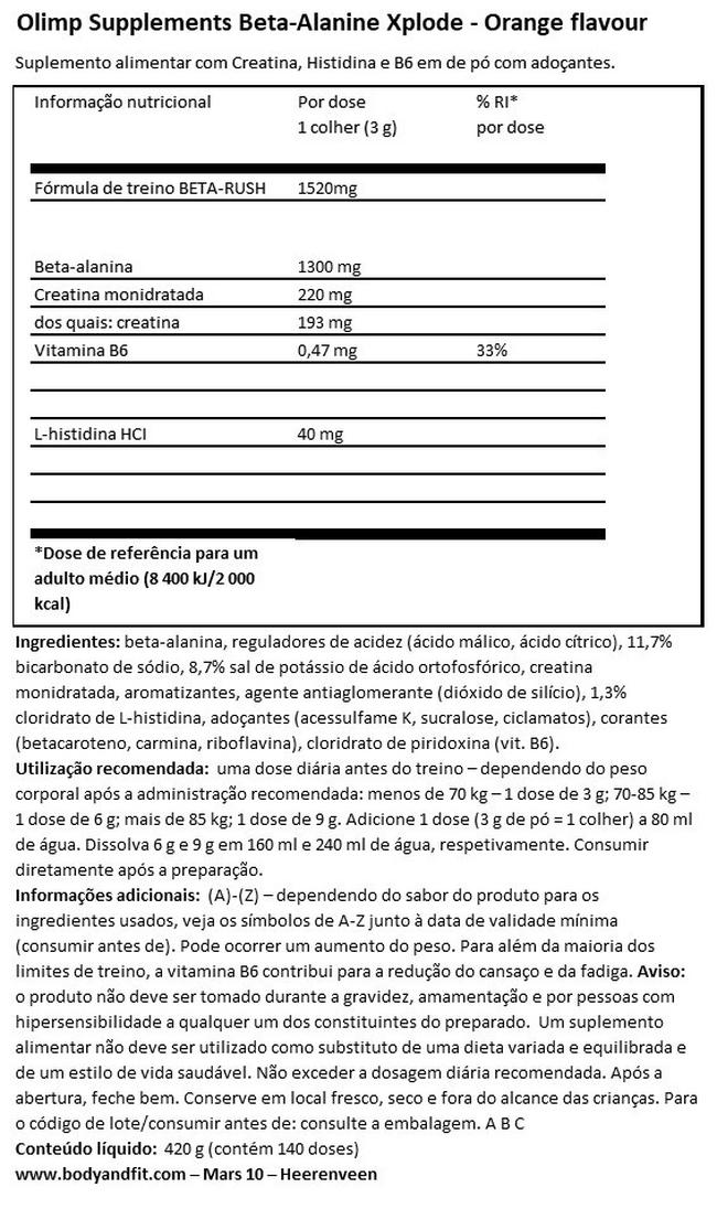 Beta-Alanina Xplode Nutritional Information 1
