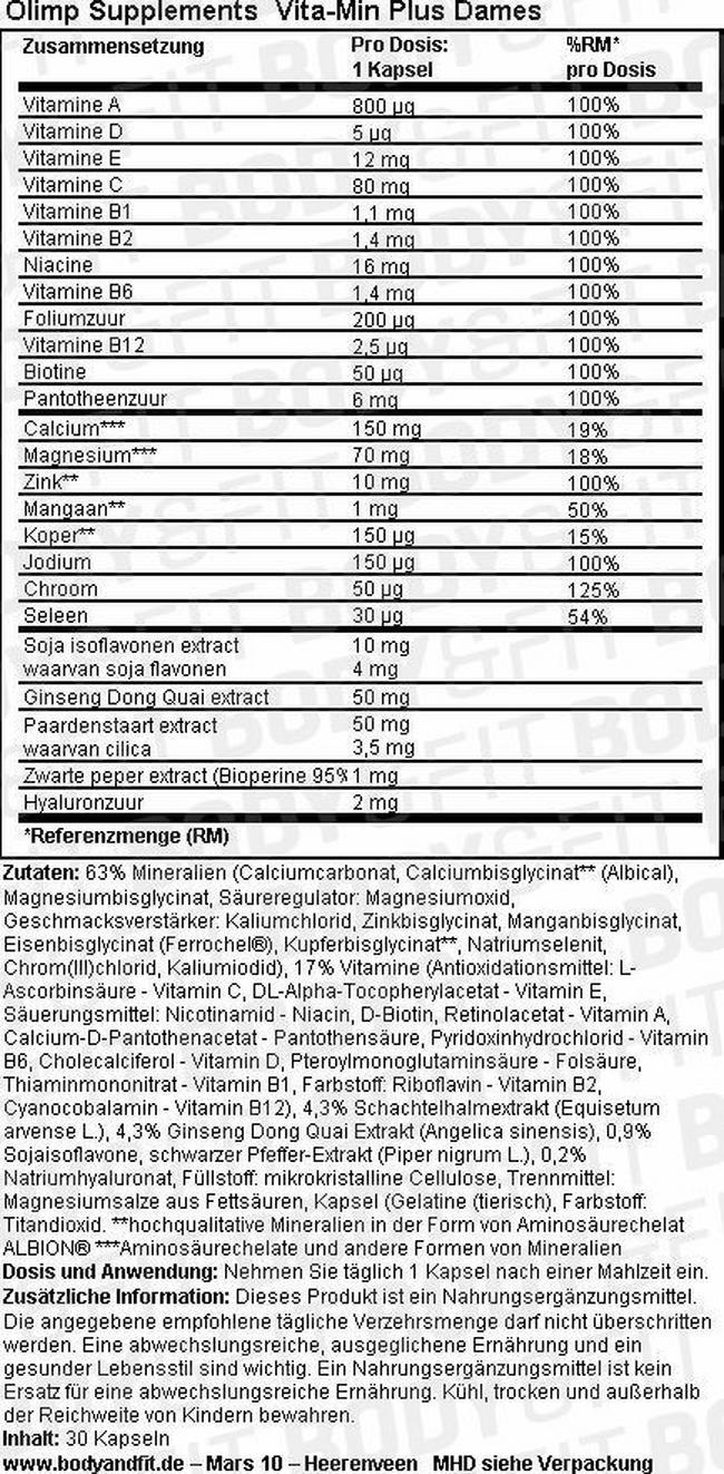 Vita-Min Plus Women Nutritional Information 1