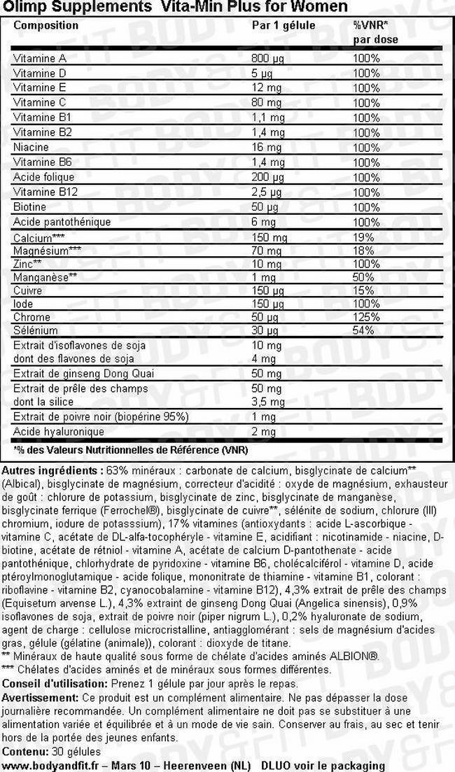 Gélule de vitamines pour femme Vita-Min Plus Ladies Nutritional Information 1