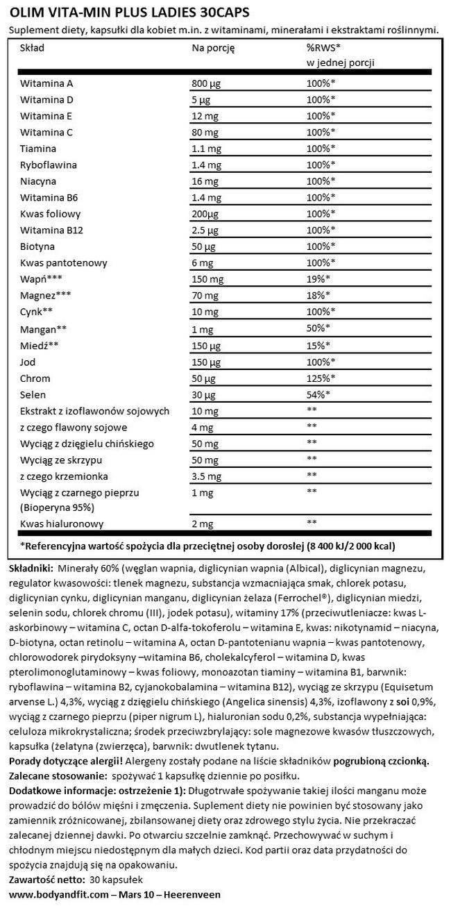 Vita-Min Plus Ladies Nutritional Information 1